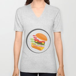 Awesome Burger falling down - I love Burger Unisex V-Neck