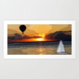 Balloon Sails to Sunset Art Print