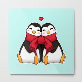 Penguins in love Metal Print