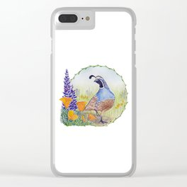 California Quail with Poppies and Lupine Clear iPhone Case