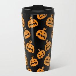 Abstract black bright orange halloween pumpkin pattern Travel Mug