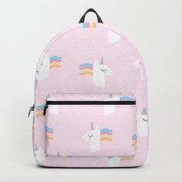 Cute Unicorn on Pink Background Backpack