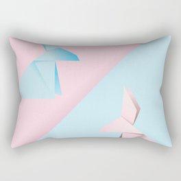 Pink and blue origami rabbit Rectangular Pillow