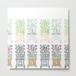 4-Seasons Flowerpots Metal Print