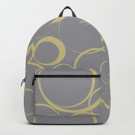 Yellow-Green and Grey Circle Pattern Pantone 2021 Color of the Year Ultimate Gray 17-5104 Backpack