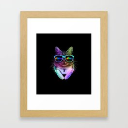 Cool Cat With Glasses And Headphones Framed Art Print