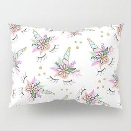 Modern cute whimsical floral unicorn pattern illustration gold glitter polka dots Pillow Sham