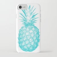 pinapple iPhone & iPod Cases featuring Teal Pineapple by CumulusFactory