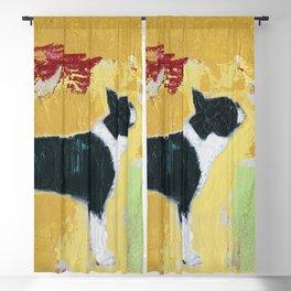 Boston Terrier Painting Art Blackout Curtain