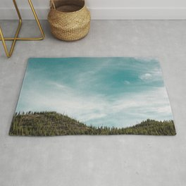 Teal Sky Forest Mountain Rug