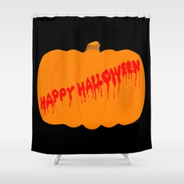 Totaly Evil Halloween Pumpkin Shower Curtain