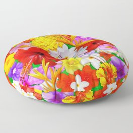 Exotic Flowers Colorful Explosion Floor Pillow