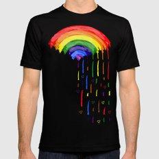 Love Rainbow Rain Mens Fitted Tee Black MEDIUM