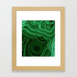 GREEN MALACHITE STONE PATTERN Framed Art Print