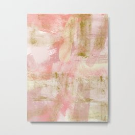 Rustic Gold and Pink Abstract Metal Print