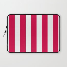 Rich carmine fuchsia - solid color - white vertical lines pattern Laptop Sleeve