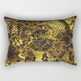 Faux gold snake skin texture on dark marble Rectangular Pillow