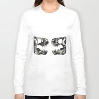 trex Long Sleeve T-shirts featuring Inkblot Trex Dinosaur by GeometricInk