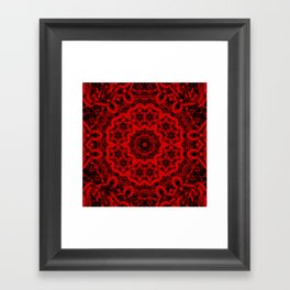 Vibrant red and black wattle mandala Framed Art Print