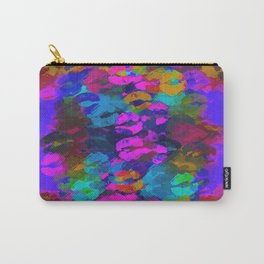 sexy kiss lipstick abstract pattern in pink blue orange red Carry-All Pouch