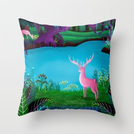 The Silent Deep Stream of Greendown Glenn Throw Pillow