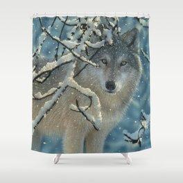 Wolf in Snow - Broken Silence Shower Curtain
