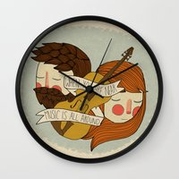 nan lawson Wall Clocks featuring Music Is All Around by Nan Lawson