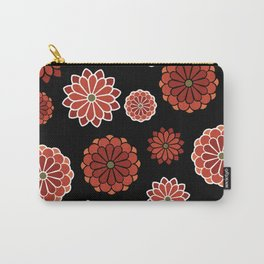 Chrysanthemum pattern on black Carry-All Pouch