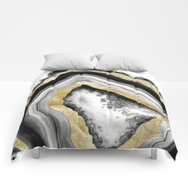Agate Gold Foil Glam #1 #gem #decor #art #society6 Comforters