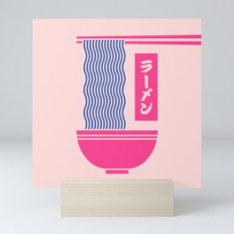 Ramen Japanese Food Noodle Bowl Chopsticks - Salmon Mini Art Print