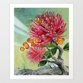Clownfish & Ohia Art Print