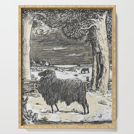 Sheep in a landscape , Richard Roland Holst, 1878 Serving Tray