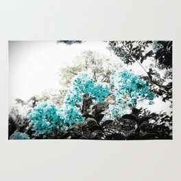 Turquoise & Gray Flowers Rug