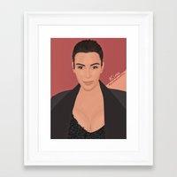 kim kardashian Framed Art Prints featuring Kim Kardashian by Marwan Baghdadi