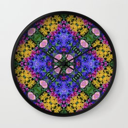 Floral Spectacular: Blue, Plum and Gold - repeating pattern, diamond, Olbrich Botanical Gardens, Mad Wall Clock