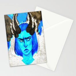 Devil With A Blue Face On Stationery Cards