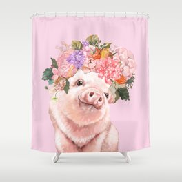 Baby Pig with Flowers Crown Shower Curtain