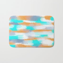 orange and blue painting abstract with white background Bath Mat