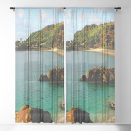 Waimea Bay ... By LadyShalene Sheer Curtain