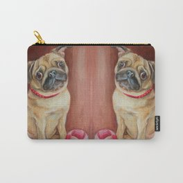Pugs with the juggling ball Cute pug dog painting Funny pet portrait Carry-All Pouch