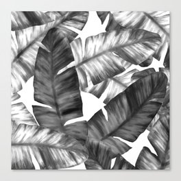 Black And White Tropical Banana Leaves Pattern Canvas Print