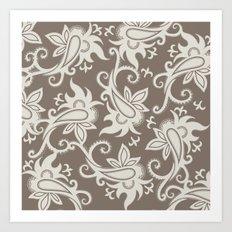 Paisley: Taupe  Art Print