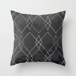 Silver Geometric on Black Marble Throw Pillow