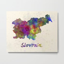 Slovenia in watercolor Metal Print