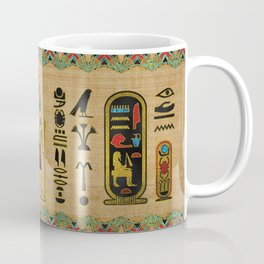 Egyptian Amun Ra - Amun Re Ornament on papyrus Coffee Mug