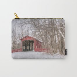 Vermont Red Covered Bridge in Snow Carry-All Pouch