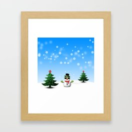 Cool Snowman and Sparkly Christmas Trees Framed Art Print