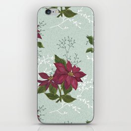 Victorian Poinsettia Christmas iPhone Skin