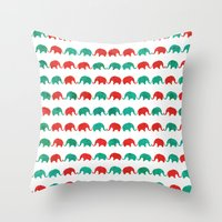elephants Throw Pillows featuring Elephants  by UvinArt