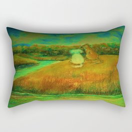 Dogs on hill side water view Rectangular Pillow